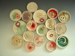 Bacteria Rings - porcelain, resin, metal pins, thread, dimensions variable, 2010